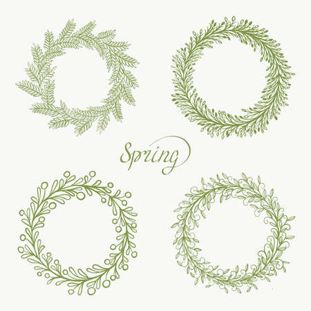 Set of four floral wreath on white background and spring lettering