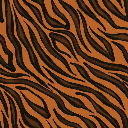Trending animak skin pattern: tiger. Bright dark stripes on orange bacground.