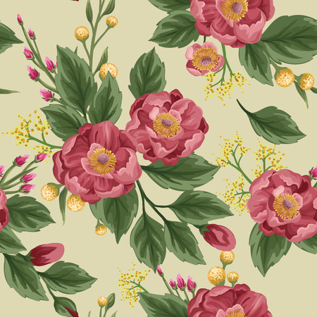 Floral seamless pattern with peonies and sweet peas on beige background