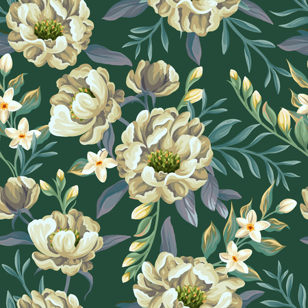 Floral seamless pattern with peonies and sweet peas on teal background Illustration
