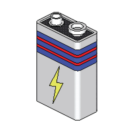 Batteryl In Isometric Pixel Style Archivio Fotografico - 70048467