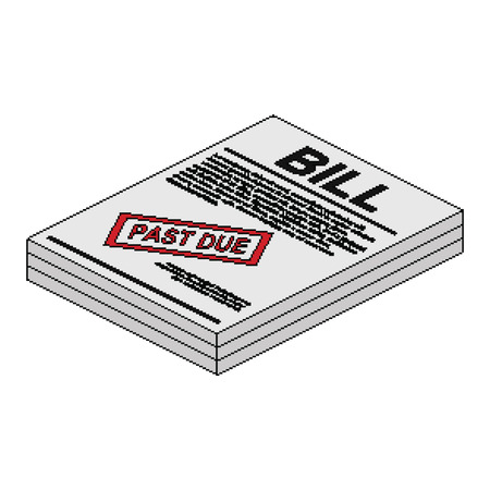 Past Due Bill In Isometric Pixel Style