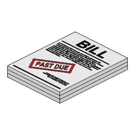 Past Due Bill In Isometrische Pixel Style