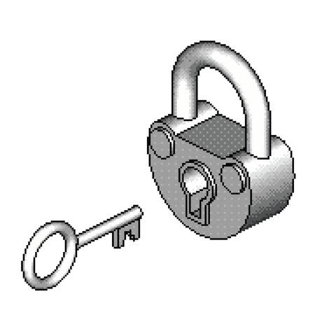 Isometric Pixel Padlock Çizim