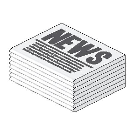 等尺性ピクセル新聞スタック  イラスト・ベクター素材