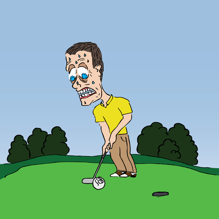 Nerveuze Putter Golf Cartoon Stock Illustratie