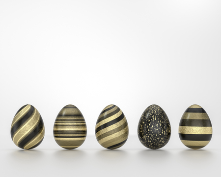 Row of black and gold Easter eggs, balanced on its blunt end on grey background. Easter decoration seamless banner concept Stock Photo