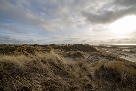 Beautiful evening atmosphere of the island of Amrum. Impressive dunes in back light with light cloudy sky. The sun almost shines through. North Frisia, Schleswig-Holstein, Germany.