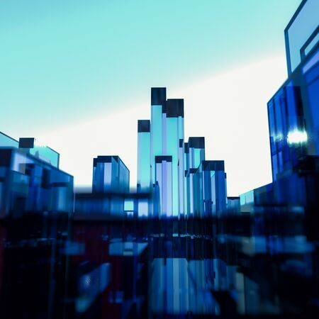 Abstract cityscape of three dimensional blue and red rectangular glass polygons against a blue sky with glow on the horizon Stock Photo