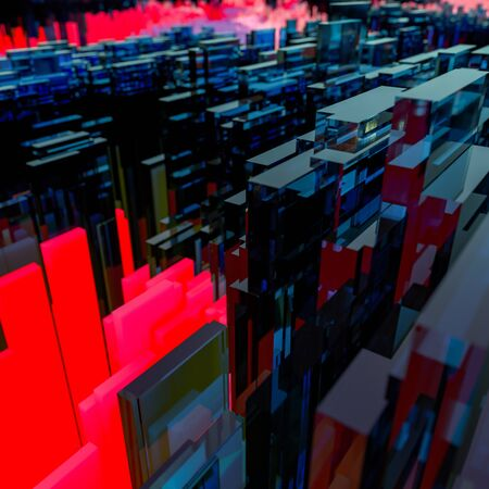 3D Illustration Abstract blue glass 3d geometric background pattern in red and blue of cubic glass polygons in random stacked formation in a receding perspective with reflections