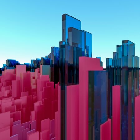3D Illustration Abstract cityscape of three dimensional blue and red rectangular glass polygons against a blue sky with glow on the horizon Stock Photo