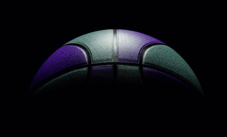 Front view on mint and black colored single basketball sitting on black background. dramatic lighting for your sports poster or flyer