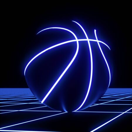 3D rendering of single blue neon basketball ball not moving on top of blue glowing crisscross pattern floor. For your flyer or webbanner Standard-Bild