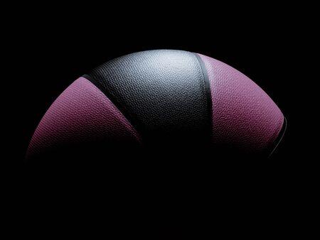 Pallacanestro singola di colore rosa e nero per donne o uomini seduti su sfondo nero. Luce che risplende direttamente sul basket dall'alto. illuminazione drammatica Archivio Fotografico