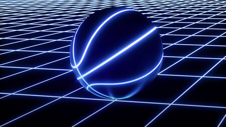 3D rendering of single blue neon basketball ball not moving on top of blue glowing crisscross pattern floor. For your flyer or webbanner