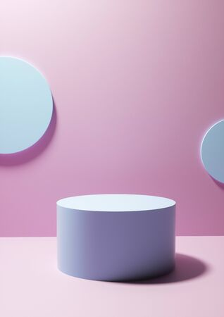 Circular display plinth on pink studio background in front of two blank white round plaques on the wall with copy space for design or product placement Stock Photo