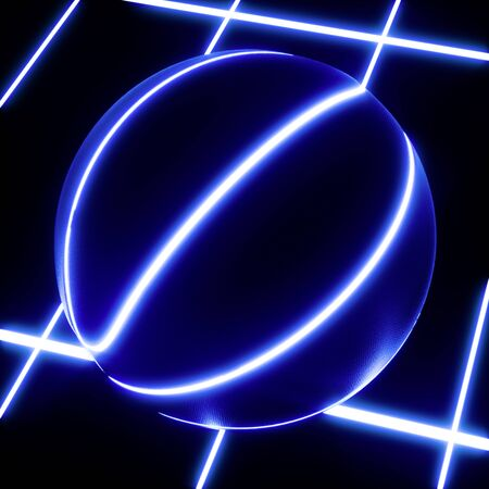 3D rendering of single blue neon basketball ball not moving on top of blue glowing crisscross pattern floor. For your flyer or webbanner Banco de Imagens