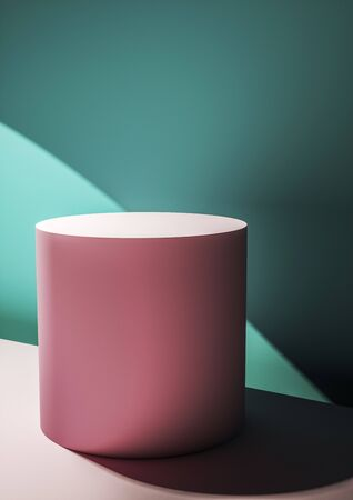 Pink circular display plinth against a green wall in a shaft of sunlight creating a mix of perspectives and shadows for a design template or product placement