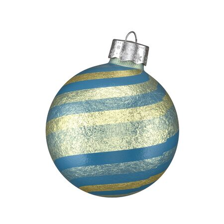 Colorful blue Christmas bauble with textured shaded gradient gold stripes isolated on a white background for holiday themed concepts