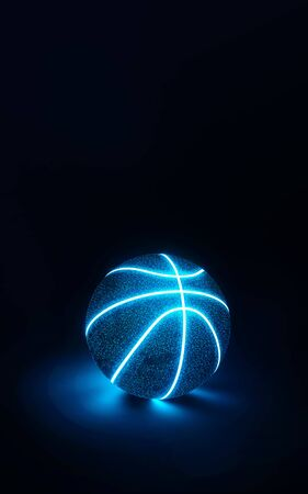 3D Rendering of creative basketball with glowing blue neon seams on a midnight blue background casting a glow on the surface below with copy space 写真素材