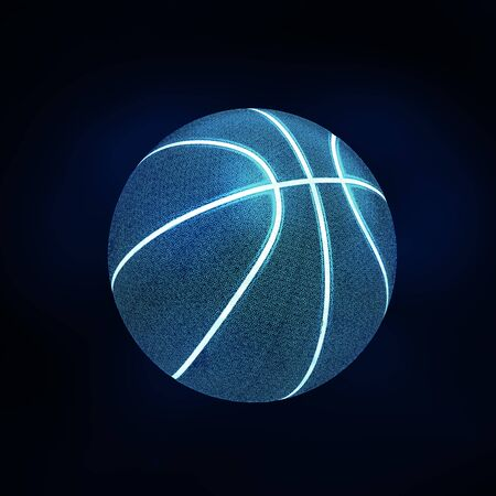 3D rendering of single black basketball with bright blue glowing neon lines sitting in completely black surroundings. With Copy space.