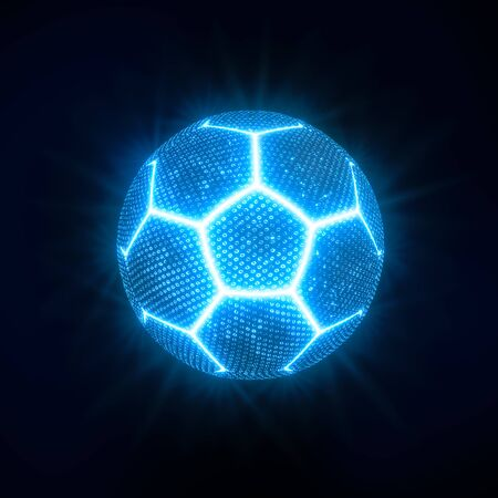 Glowing neon football or soccer ball with blue seams and blue cells floating in the dark on black background 写真素材