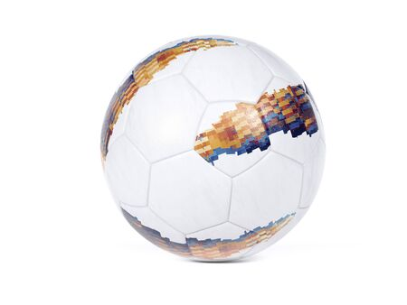 White football with colorful abstract geometric design on the surface over a white background with small drop shadow and copy space Фото со стока