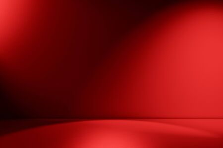 Red empty Studio room for product placement or as a design template with wall angle in a full frame view
