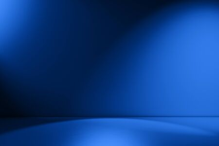 Royal blue empty Studio room for product placement or as a design template with wall angle in a full frame view
