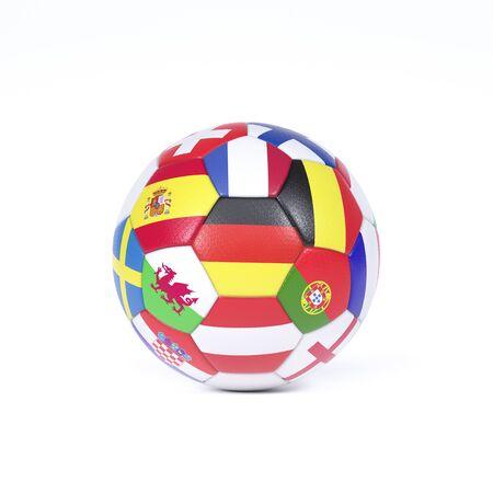 Ballon de football ou de football coloré sur blanc décoré des drapeaux nationaux des pays participant aux championnats