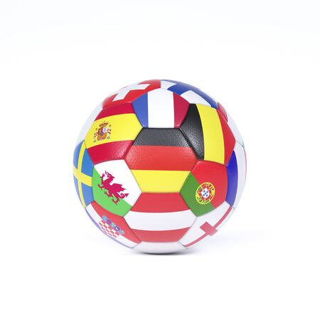 Colorful football or soccer ball on white decorated with the national flags of the countries competing in the championships