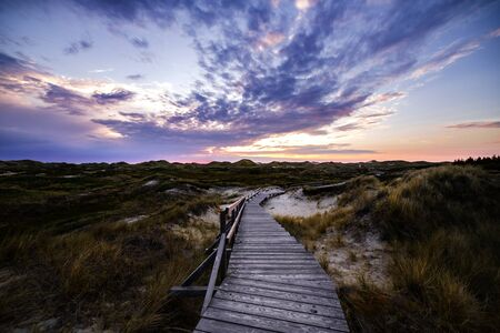 Colorful sunset view of wooden touristic walkway in nature reserve. Picturesque panoramic view of seaside landscape. Summer vacation and wildlife concept. Фото со стока