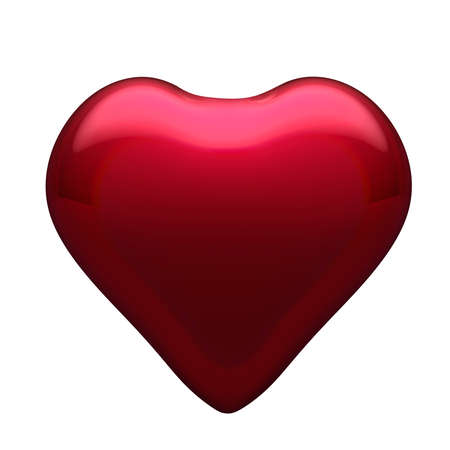 Big glossy red glass heart isolated on white background. Christmas decoration, festive atmosphere concept.