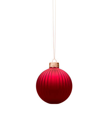 Matt red vertically ribbed Christmas bauble. Isolated on white background. Christmas decoration, festive atmosphere concept.