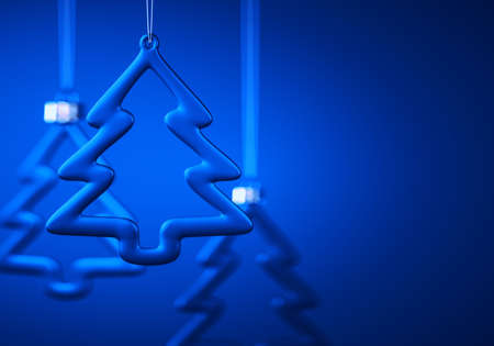 Three glass Christmas balls. Tree contour shape baubles hanging against royal blue background. Christmas decoration, festive atmosphere concept. Selective focus, copy space.