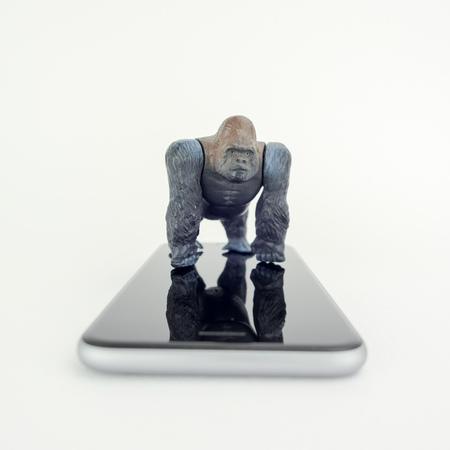 Gorilla toy on gorilla glass