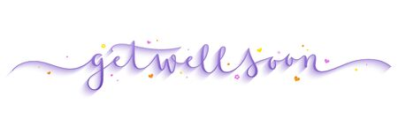 GET WELL SOON purple vector brush calligraphy banner with decorative elements