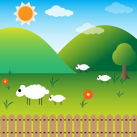 paysage dessin anim�: vecteur de conception du paysage de bande dessin�e