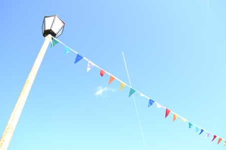 fest: Sky, flags and fest Stock Photo