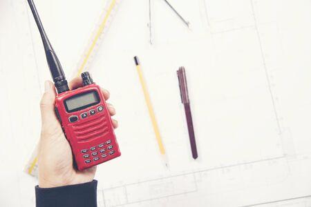 radio in constuction site Stock Photo