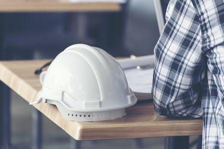 Business man building contractor using smart phone. Architect Interior design.