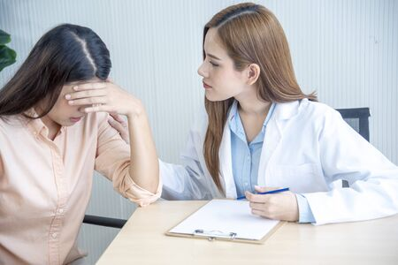 Woman doctor and patient consultation with professional specialist diagnostics at hospital medicare treatment clinic. Doctor writing prescription for medical health care therapy.
