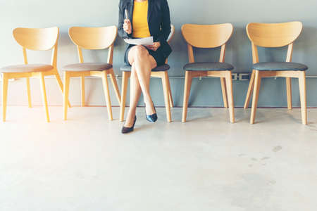 Confident Candidate waiting for job interview and recruitment in human resource department . Job interview Concept Banque d'images