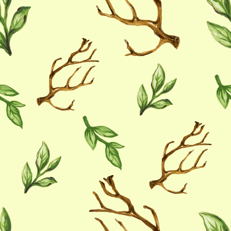 Watercolor dry tree leaves branches seamless pattern set Hand painting