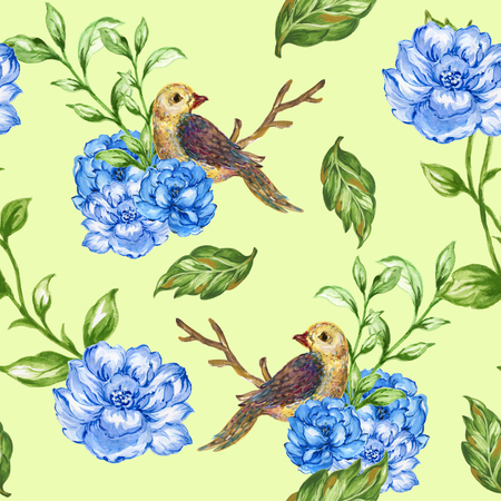 seamless pattern Little Bird with bouquet flowers and plant watercolor gouache hand paint Romantic floral 版權商用圖片