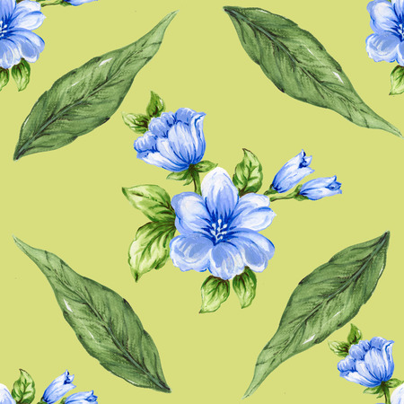 seamless pattern bouquet rose blue flowers and plant watercolor gouache hand draw Romantic floral 版權商用圖片