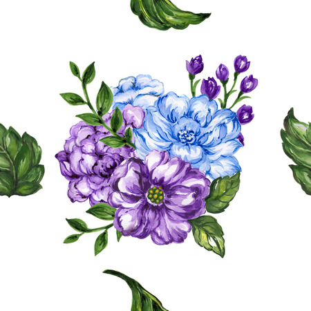 seamless  pattern bouquet rose blue purple flowers and plant watercolor gouache hand draw Romantic floral Stock Photo