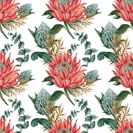 Botanical collage with King protea and green leaves branches seamless pattern for wedding design watercolor gouache hand paint Archivio Fotografico