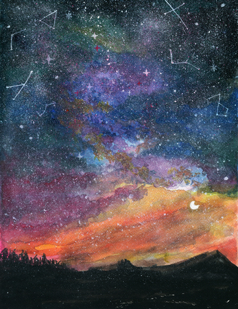 Starry night landscape with milky way Galaxy Sky and Moon Colorful gouache watercolor Green pink orang peach turquoise blue violet illustration
