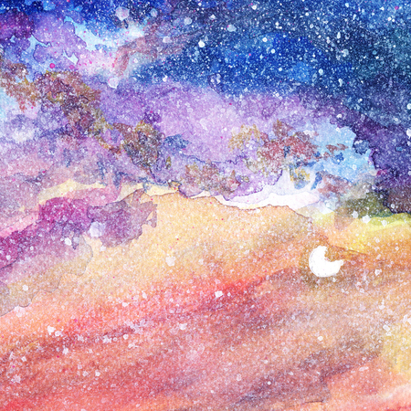 night sky with moon background on watercolor paper textured hand paint